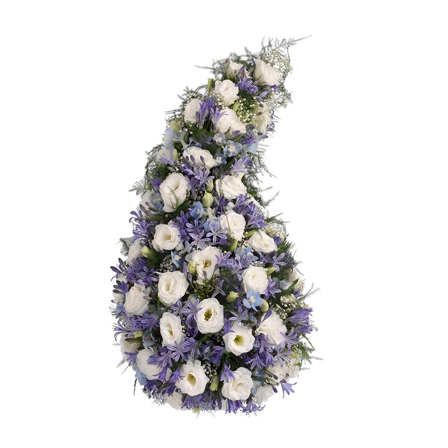 rouwarrangement druppel paars lila