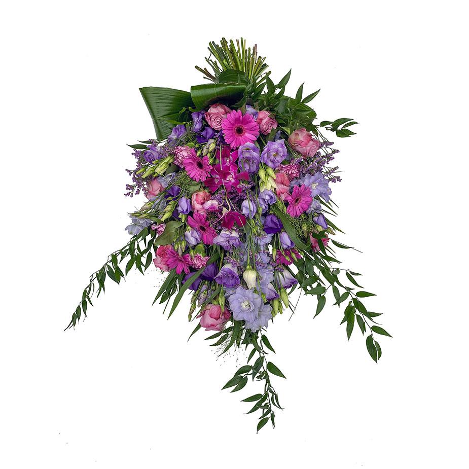rouwboeket lila kleuren