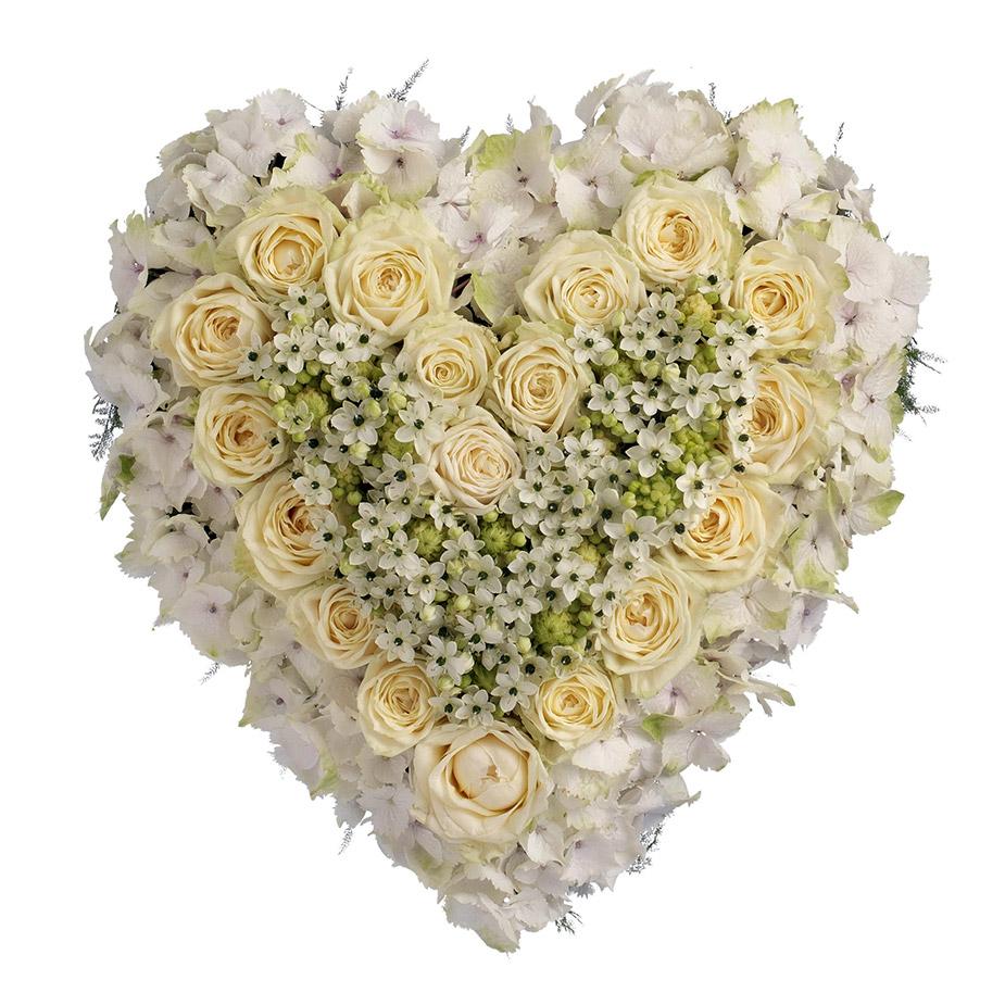 rouwhart witte rozen