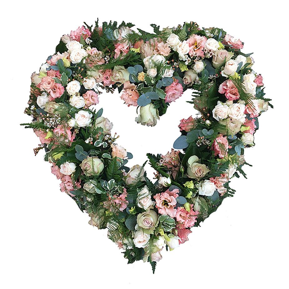 rouwhart open roze