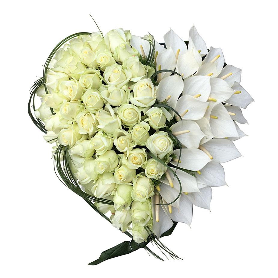 rouwhart wit rozen anthurium