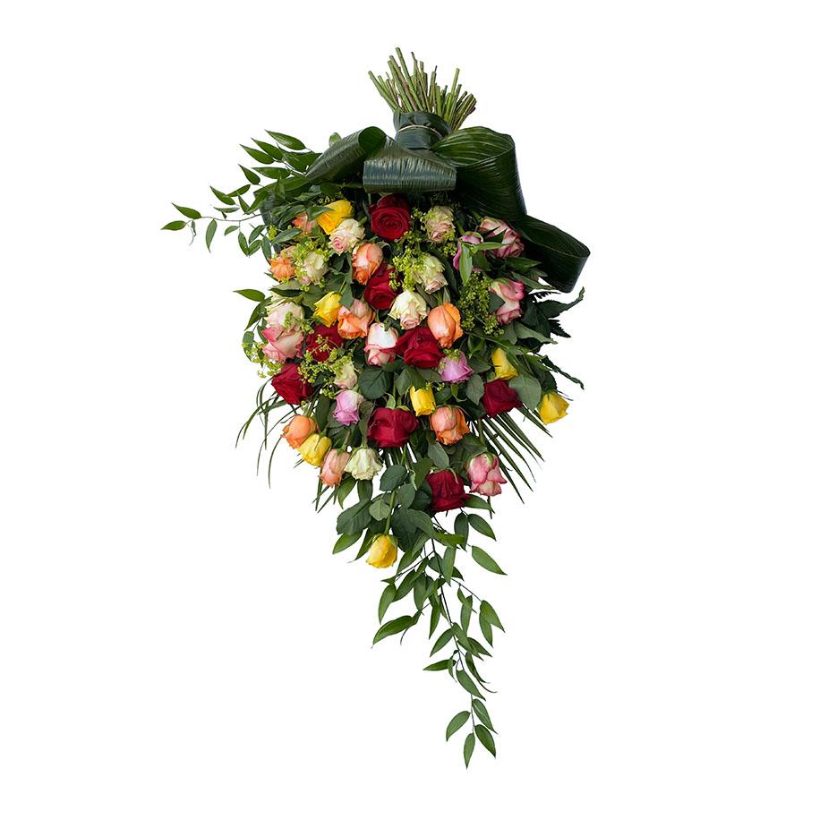 rouwboeket rozen diverse kleuren