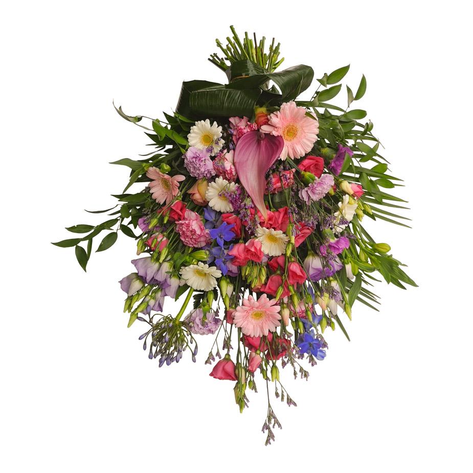 rouwboeket paars roze