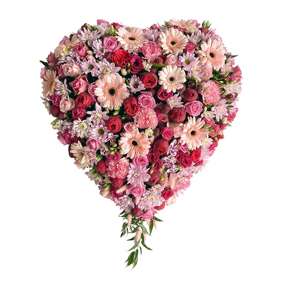 rouwhart roze bordeau rozen