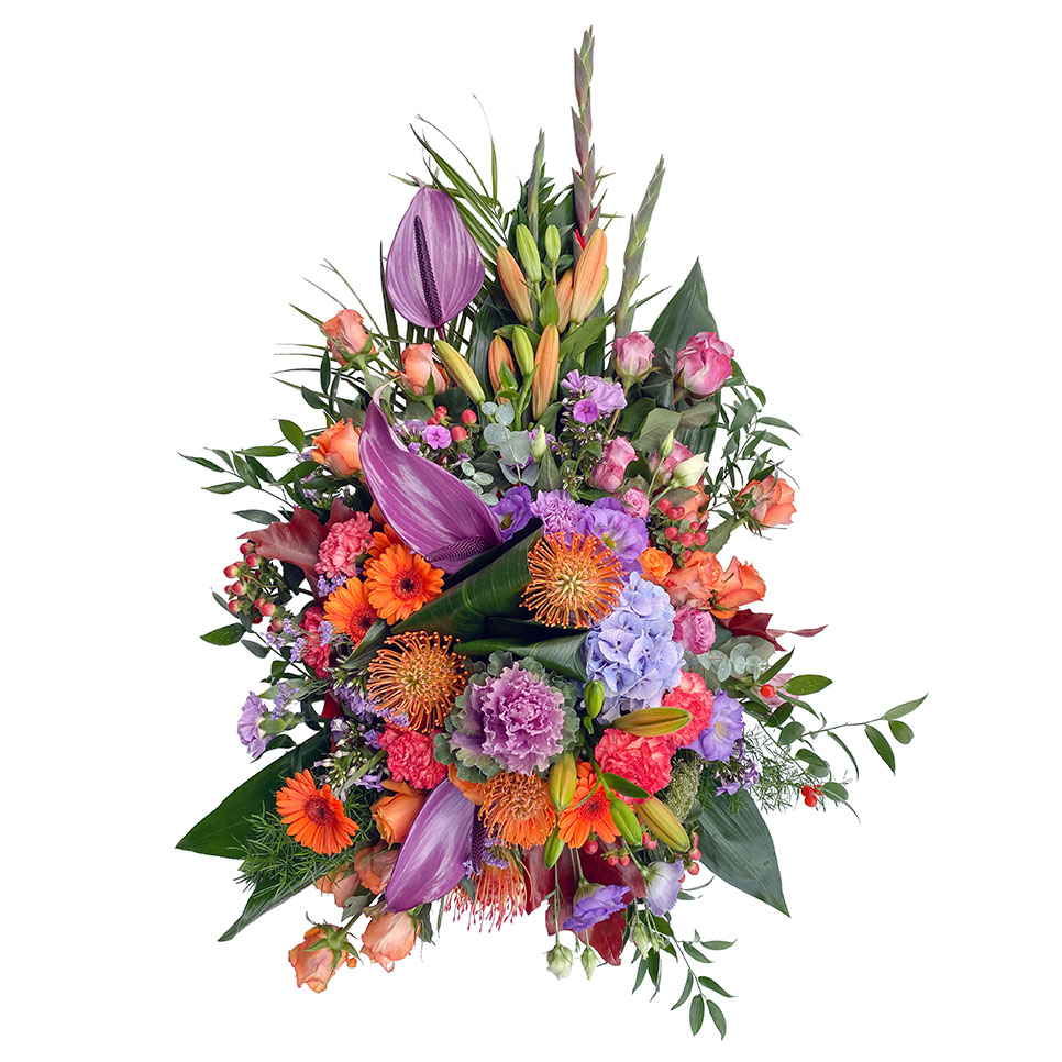 rouwstuk paars oranje roze