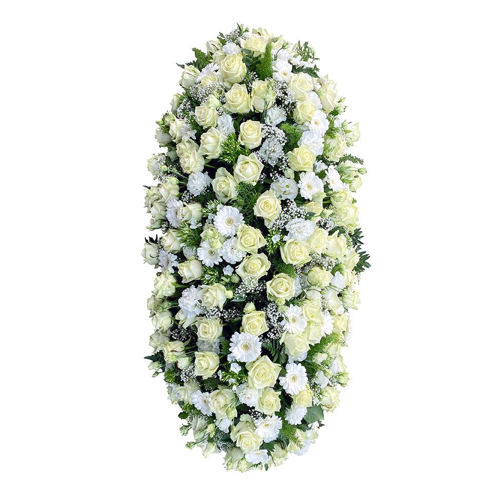 rouwstuk witte rozen