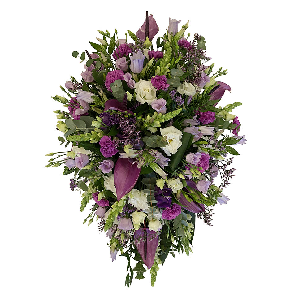 rouwstuk paars wit